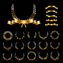 Golden laurel wreaths and ribbons set on black background. Set of foliate award wreath for championship or cinema festival. Vector illustration.
