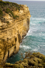 A view of the cliffs by the Twelve Apostles along the Great Ocean Road, Victoria Australia
