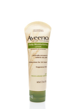 IRVINE, CALIFORNIA - AUGUST 20, 2019: A 2.5 ounce plastic botttle of Aveeno Daily Moisturizing Lotion.