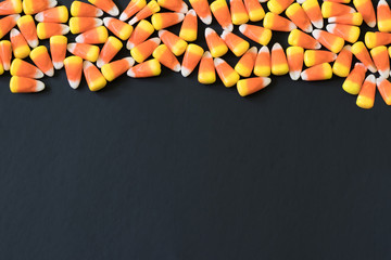 Candy Corn Border Pattern on a Black Background
