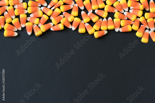 Candy Corn Border Pattern on a Black Background
