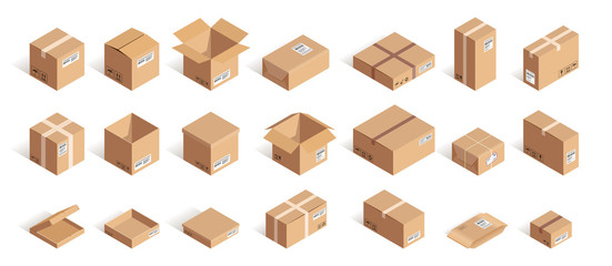 Big isometric delivery carton box set