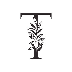 letter T of the alphabet with leaves