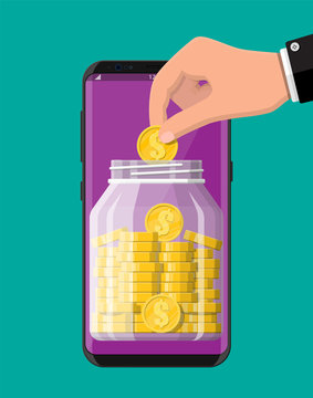 Glass money jar full of gold coins on smartphone screen. Mobile banking, moneybox. Growth, income, savings, investment. Wealth, business success. Flat vector illustration.