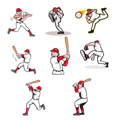 Set or collection of cartoon character mascot style illustration of a baseball player, pitcher and batter on isolated white background.