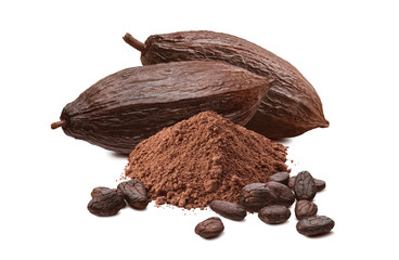 Roasted cocoa beans, powder and pods isolated on white background