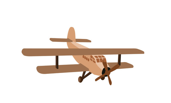 Color model of an old plane. Isolated on White Background. Vector Illustration