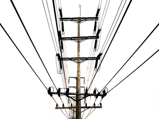 Electricity pole, Black and White electric pole on bright sky, high-voltage tower on white background