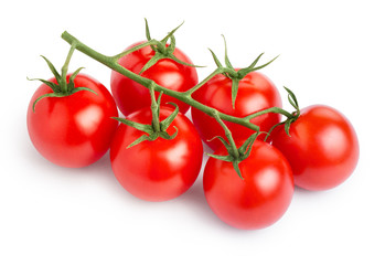 Branch of delicious fresh cherry tomatoes, isolated on white background