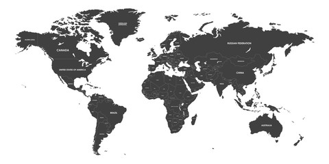 High Detailed Political countries World Map. Vector illustration