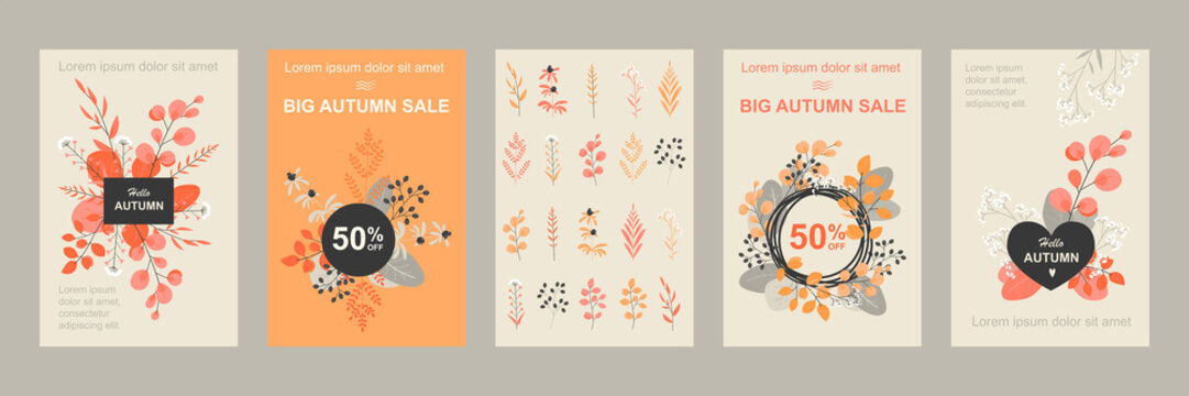 Set of vector banners or flyers for autumn sale with flowers and leaves.