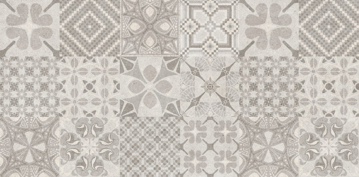 intage old ceramic tiles wall decoration and background. azulejo decoration tile cement background