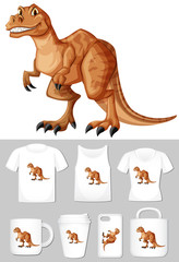 Graphic of t-rex on different types of product template