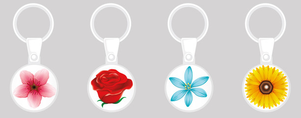 Keychain design template with colorful flowers