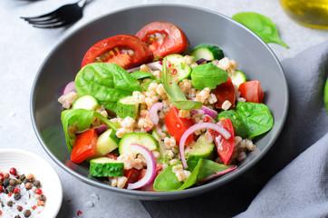 Spelt and Fresh Vegetables Salad, Tasty Vegetarian Meal