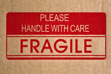 Fragile message on shipping box