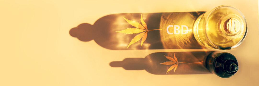 Trendy sunlight and shadows from CBD oil bottles on light background Creative composition, minimalism concept Banner