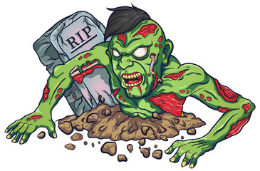 Cartoon mascot zombie terrible design