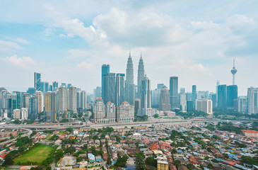 Fotomurales - Cityscape view in the middle of Kuala Lumpur city center ,day time , Malaysia .