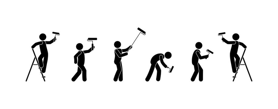 man is engaged in repair, isolated silhouettes of people, wall painting icons, stick figure people with paint roller