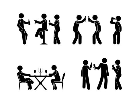 people drink spirits drinks icon set, stick figure illustration bar, restaurant, stickman with a bottle in hand
