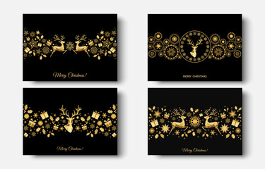 Fotomurales - Christmas  golden  decoration  with  Xmas  reindeer, gifts,  snowflakes.