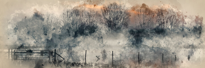 Wall Murals Beige Digital watercolor painting of Panorama landscape of lake in mist with sun glow at sunrise