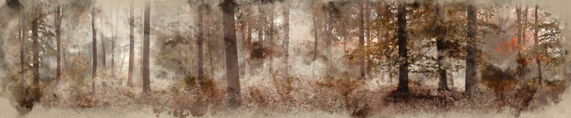 Digital watercolor painting of Large colorful panorama foggy Autumn Fall forest landscape Fototapete
