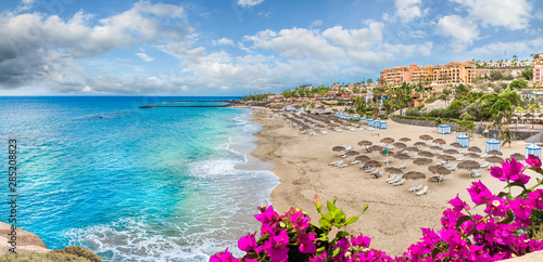 Wall mural Landscape with El Duque beach at Costa Adeje. Tenerife, Canary Islands, Spain