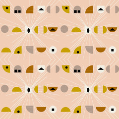 Abstract geometric vector seamless pattern inspired by mid-century modern fabrics.