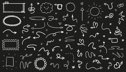 Infographic elements on isolated black background. Hand drawn wavy arrows. Set of different frames. Black and white illustration