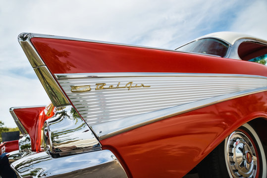 Tail fin of a vintage 1957 Chevrolet Bel Air classic car on October 17, 2015 in Westlake, Texas.
