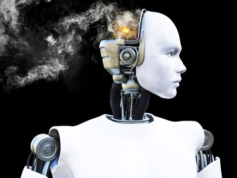 3D rendering of male robot with smoke from his head.