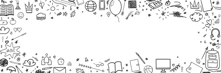 Pattern with school supplies. Back to school. Hand drawn infographic elements. Black and white illustration