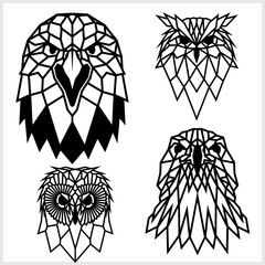 Eagle and Owl - animal heads icons. Vector geometric illustrations of wild life animals.