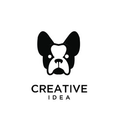 french bulldog logo icon design vector illustration