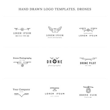 Set of hand drawn vector logo templates. Camera drones. Aerial photography.