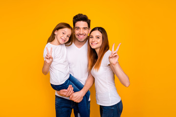Portrait of three nice attractive charming cute lovely sweet tender cheerful cheery optimistic...