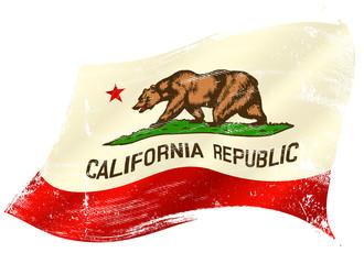 A grunge waving flag of california or the bear flag.