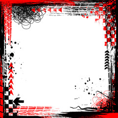 White background with black and red grunge elements