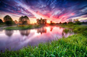 Fotobehang Bomen Beautiful summer sunrise over river banks
