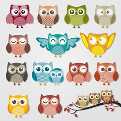 Aluminium Prints Owls cartoon cute owl cartoon vector set