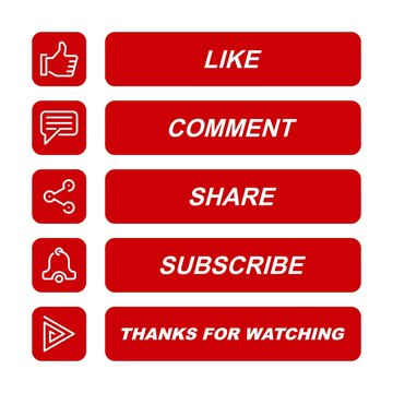 Like, comment, share, subscribe, and thanks for watching icon button illustration.