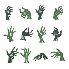 Zombie hand from grave, Halloween symbol isolated icons