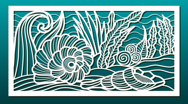 Laser cut panels, vector. Template or stencil for  metal cutting, wood carving, paper art, fretwork