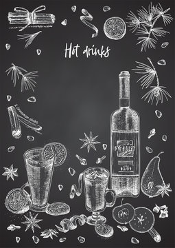 Vintage hand drawn sketch design bar, restaurant, cafe menu on black chalk board background. Place for your text Graphic vector art. Mulled wine