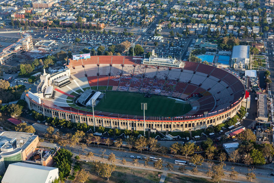 Aerial view of the historic Los Angeles Memorial Coliseum stadium near downtown and USC on August 7, 2017 in Los Angeles, California, USA.