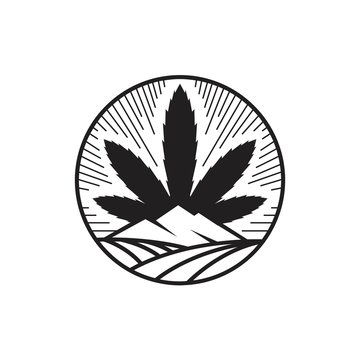 Cannabis leaf with mountain and field illustration inside circle shape logo design