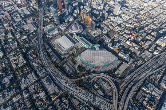 Aerial view of the Los Angeles Convention Center, Staples Center and congested downtown freeways on August 7, 2017 in Los Angeles, California, USA.
