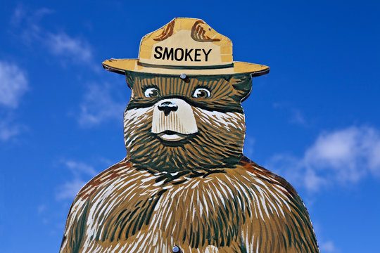 Smokey the Bear forest fire prevention sign educates children in the prevention of wild fires on April, 12, 2012 in Santa Fe, New Mexico, USA.